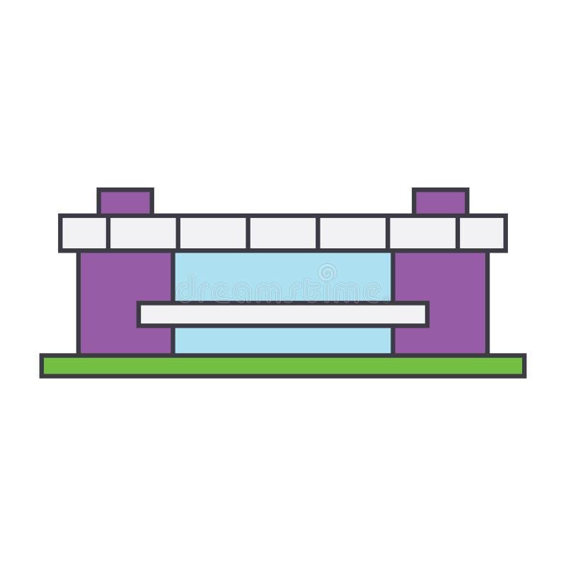 Stadionlinje symbolsbegrepp Plant vektortecken för stadion, symbol, illustration royaltyfri illustrationer