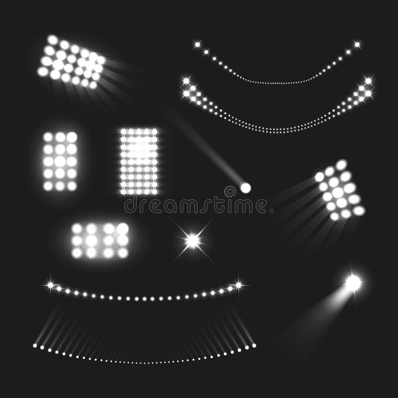 Stadionljusuppsättning royaltyfri illustrationer