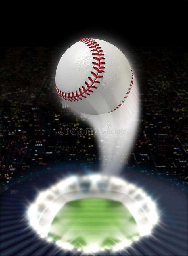 Stadionnatt med bollSwoosh arkivbilder