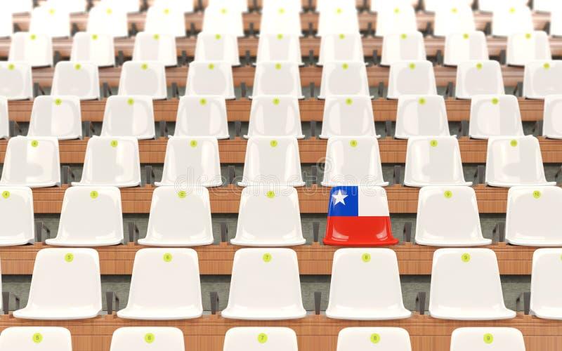 Stadionplats med flaggan av chilen stock illustrationer