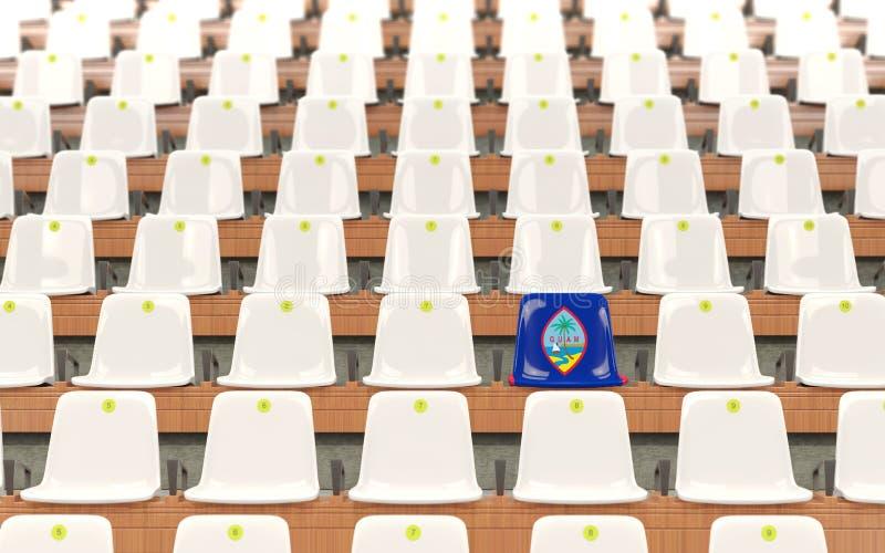 Stadionplats med flaggan av Guam stock illustrationer