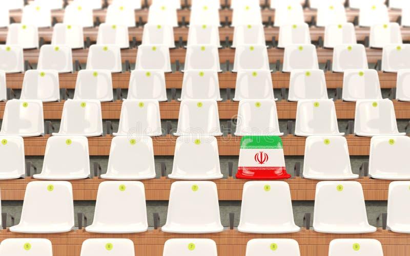 Stadionplats med flaggan av Iran vektor illustrationer
