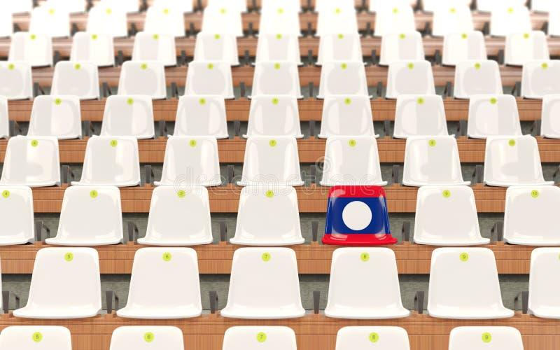 Stadionplats med flaggan av Laos stock illustrationer