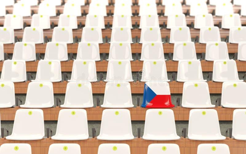 Stadionplats med flaggan av Tjeckien vektor illustrationer