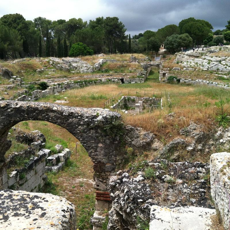 Stadions-Ruinen in Syrakus stockbild