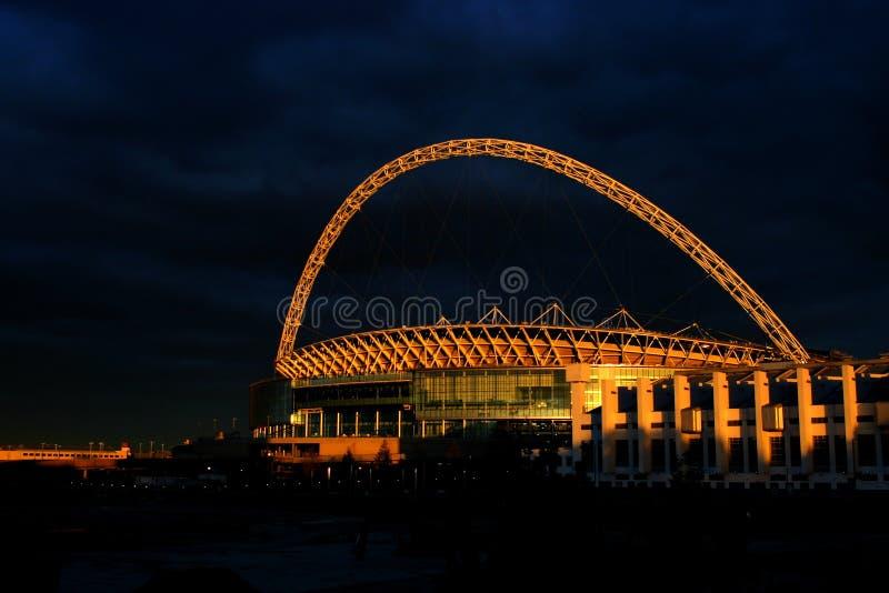 stadionsolnedgång royaltyfria foton