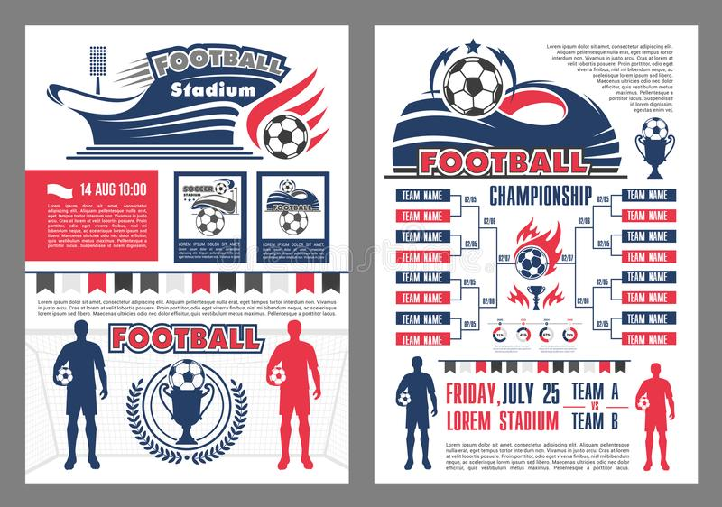 Stadionu futbolowego i meczu piłkarskiego rozkładu plakat ilustracji