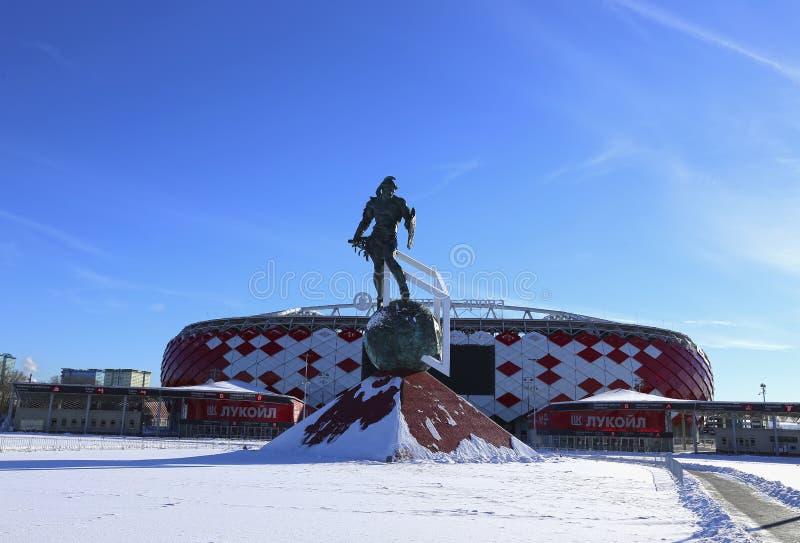 Stadionu futbolowego Spartak otwarcia arena i zabytek gladiator Spartacus fotografia stock