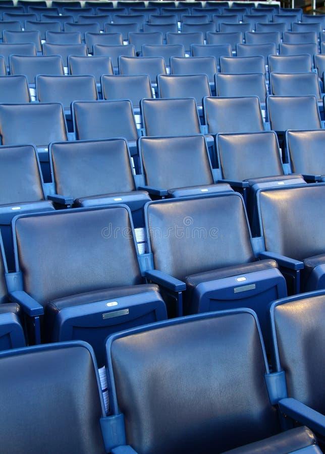 Stadium/Arena Seats. Row after row of Blue stadium seats royalty free stock images