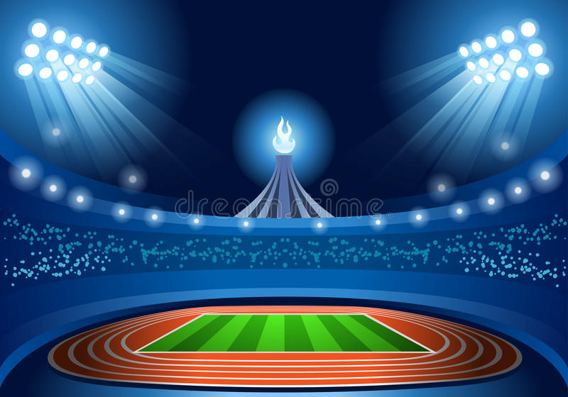 Olympics Paralympics Game Rio Brasil 2016 Stadium Background Summer Games Empty Field Background Nocturnal View royalty free illustration