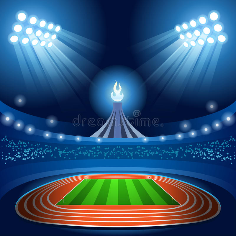 Stadium Background Olympic Rhythmic Gymnastics Female Athlete with Ribbon Equipment Gymnast on Field Background stock illustration