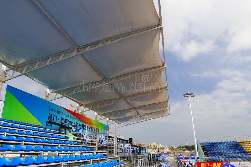 Stadium bleachers with awning. September 11 to 14 2014, china national beach volleyball championship held in siming town, xiamen city stock photos