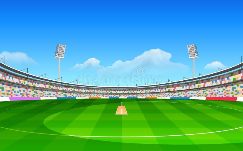 Stadium of cricket. Illustration of stadium of cricket with pitch