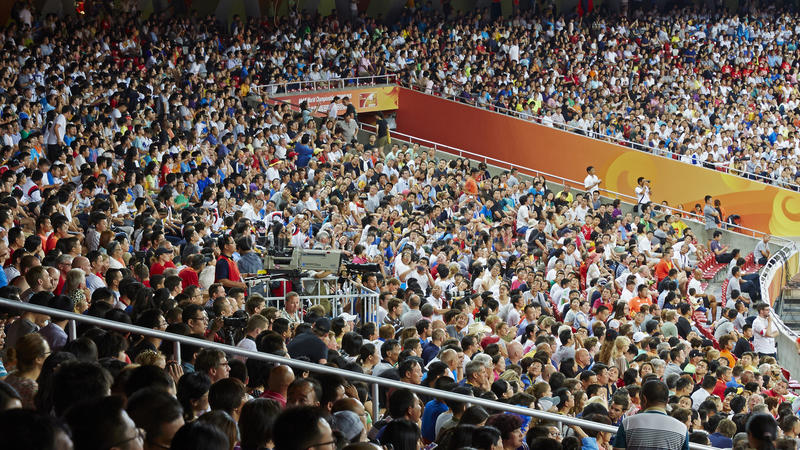 Stadium crowded people texture. People watching games in Beijing Bird`s Nest stadium royalty free stock photos