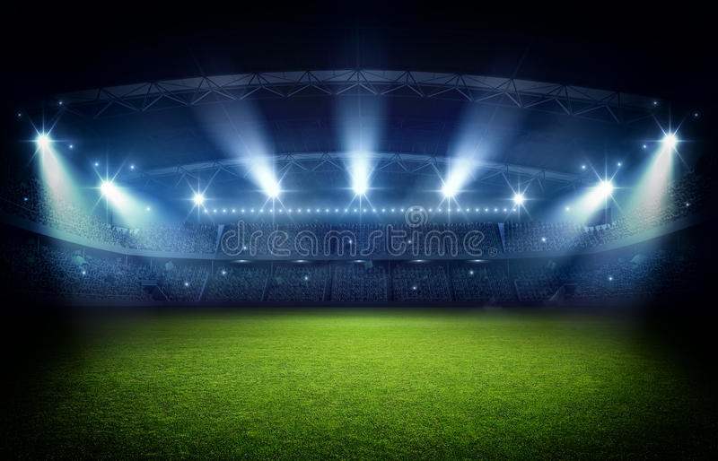 Stadium, 3d rendering. The imaginary football stadium is modeled and rendered vector illustration