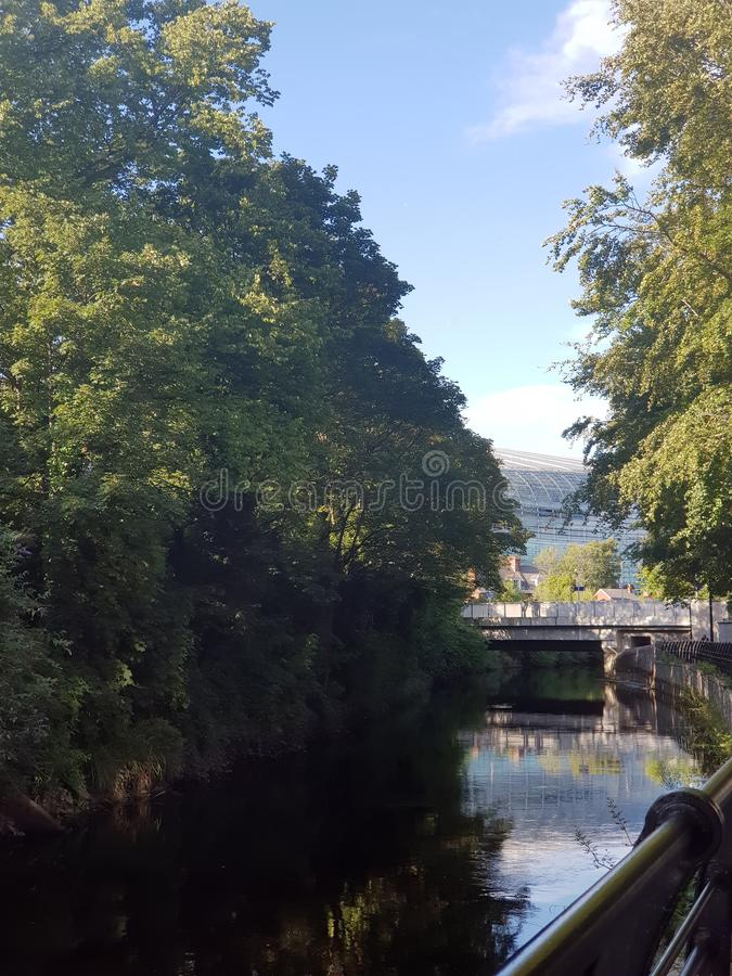 Stadium in Dublin,Ballsbridge. Dublinballsbridge, river, ireland, football, rugby, view, sky, lansdowne stock photography
