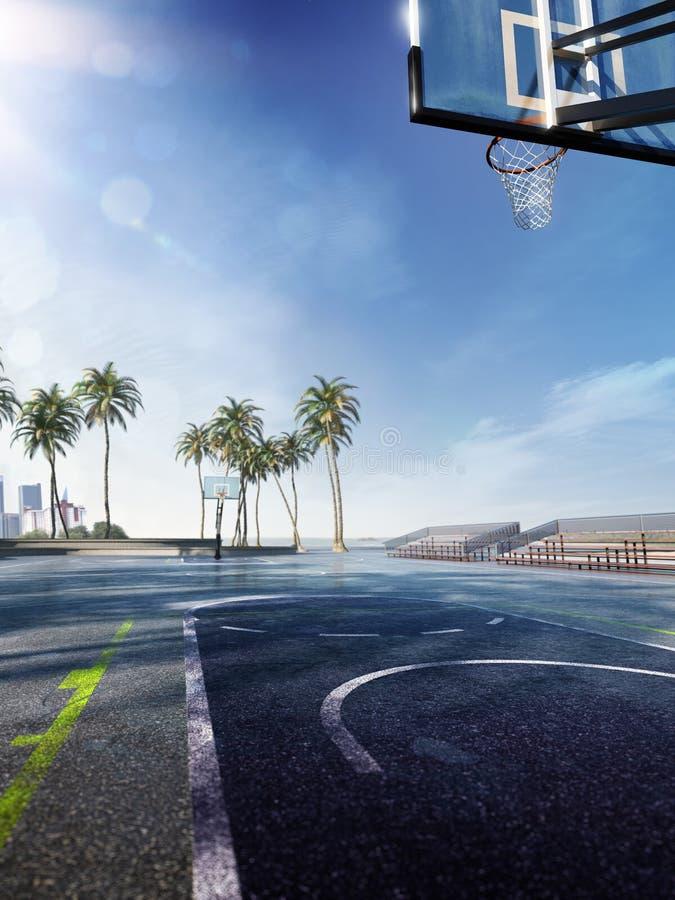 Street basketball court 3D illustration stock illustration