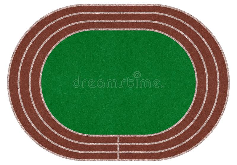 Stadium field, arena. Run track, green ground, isolated. Top view royalty free illustration