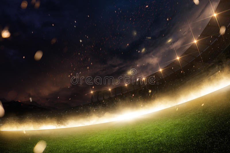 Stadium in fire, smoke and night royalty free stock images