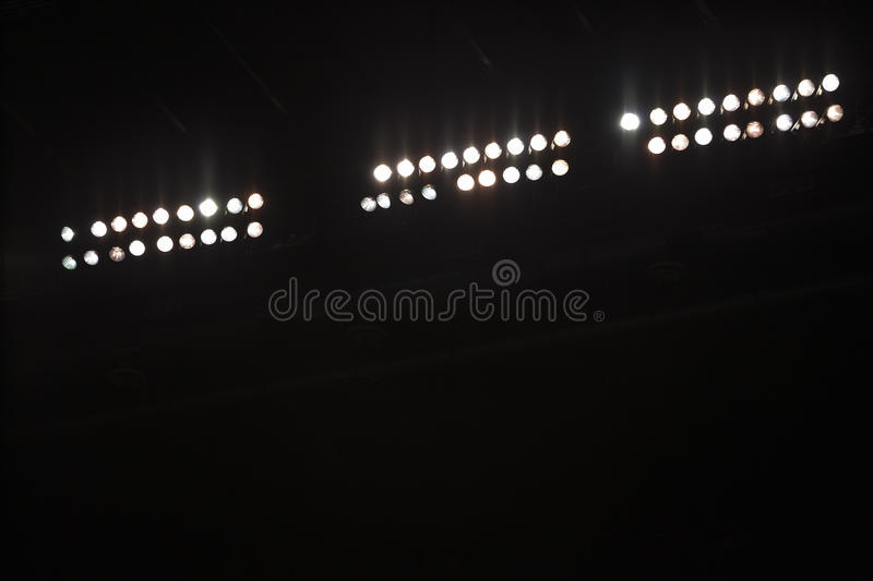 Stadium Floodlights with copy space royalty free stock image