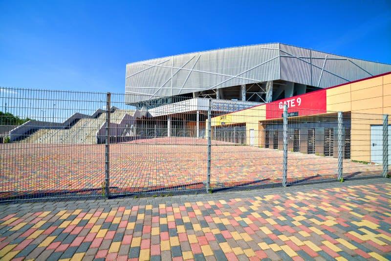 Stadium gates. Big european stadium entrance gates and sectors royalty free stock images