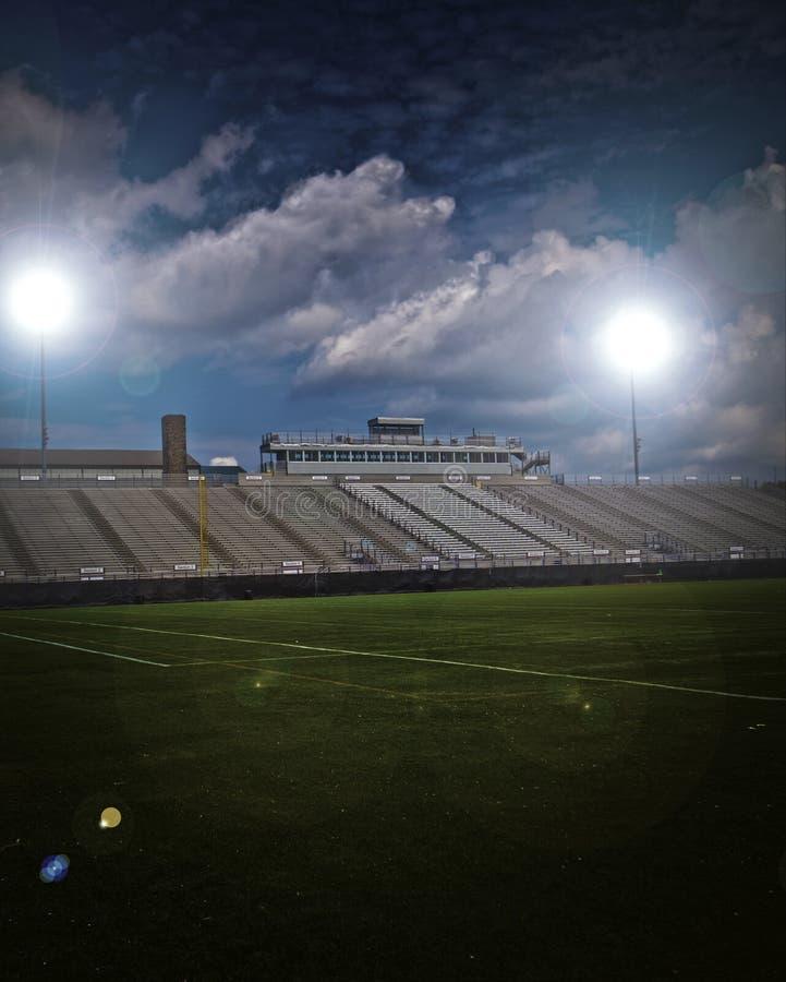 Stadium. Generic American football and general sports stadium with vignette stock photo