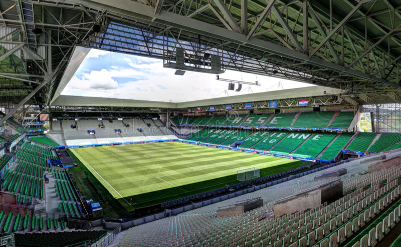 Stadium Geoffroy-Guichard in Saint-Etienne, France. Field of play without players and public royalty free stock photos