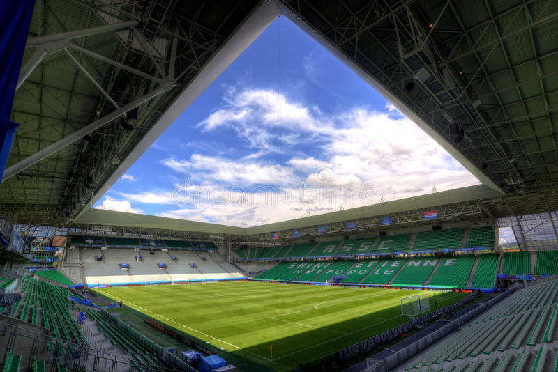 Stadium Geoffroy-Guichard in Saint-Etienne, France. Field of play without players and public stock images