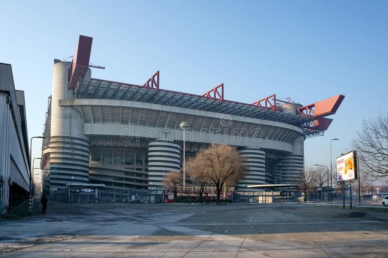 Stadium Giuseppe Meazza San Siro - attractions of Milan, built in the architectural style of brutalism in 1925 stock images