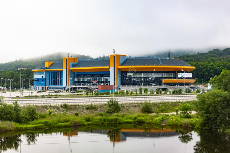 Stadium for ice hockey Fetisov arena. In Vladivostok on a cloudy day royalty free stock photography