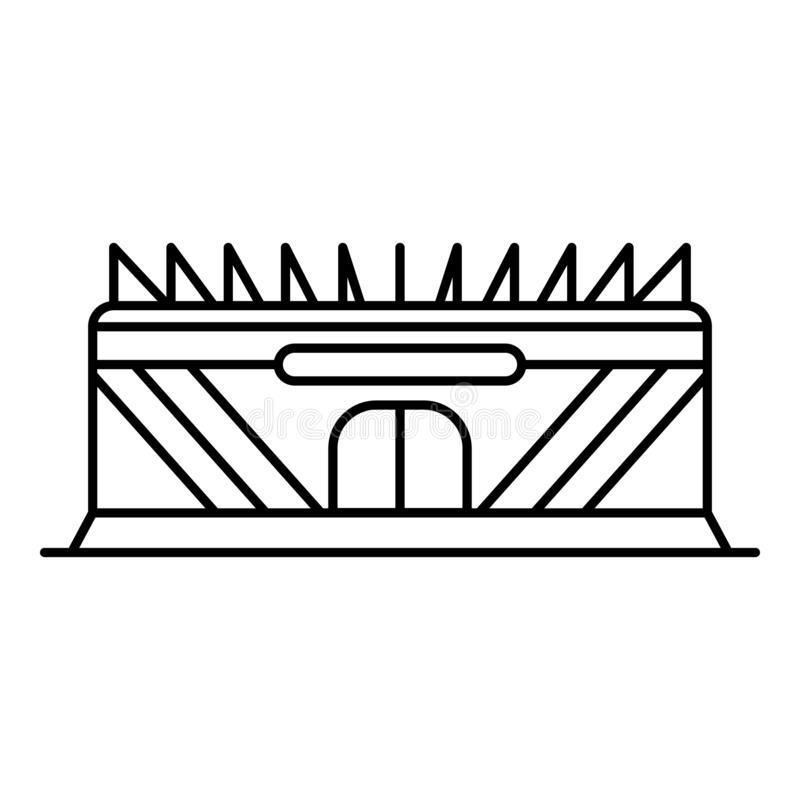 Stadium icon, outline style. Stadium icon. Outline stadium vector icon for web design isolated on white background stock illustration