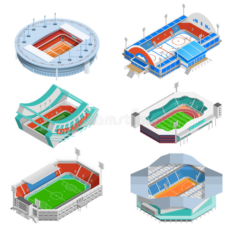 Stadium Icons Set royalty free illustration