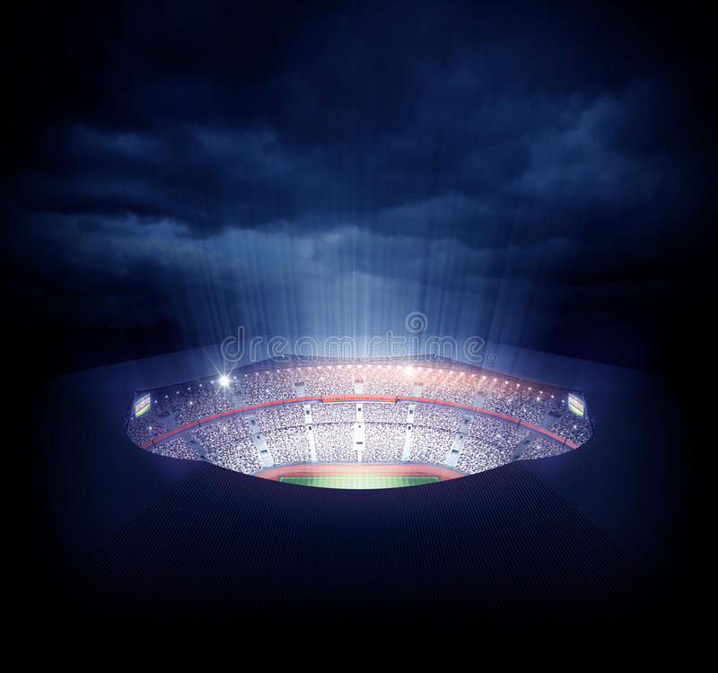 Stadium. An imaginary stadium is modelled and rendered royalty free illustration