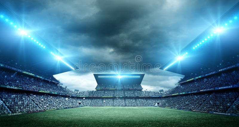 Stadium. The imaginary stadium is modelled and rendered vector illustration
