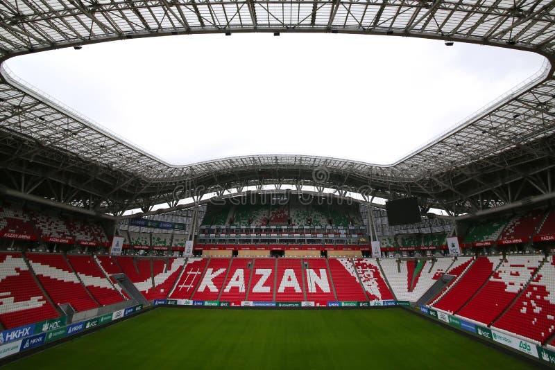 Stadium Kazan arena kt?ra b?dzie trzymaj?cymi futbolowymi dopasowaniami 2018 puchar ?wiata, obraz royalty free