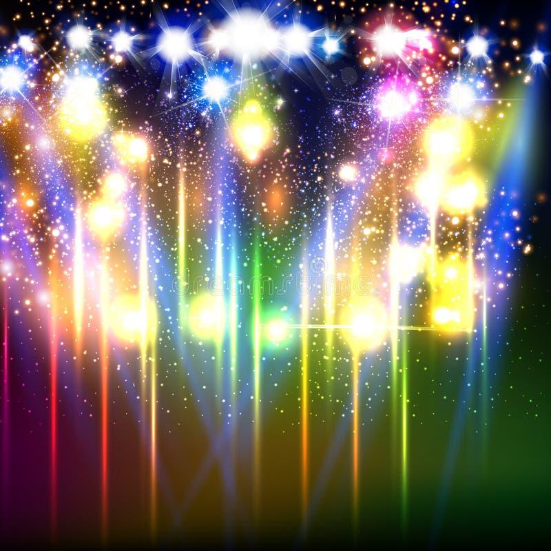Stadium, Licht, Scheinwerfer, Feuerwerke leeren Szenenillustration vektor abbildung