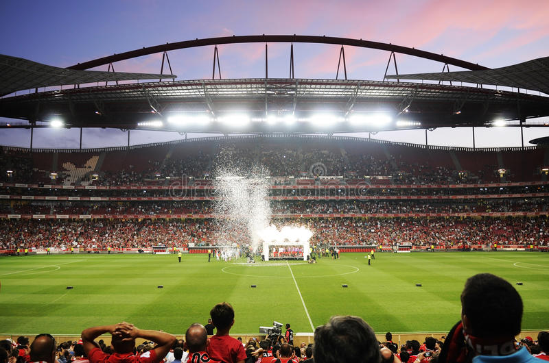 Soccer Fans, Benfica Football Stadium, Estadio da Luz , Lisbon - Portugal stock image