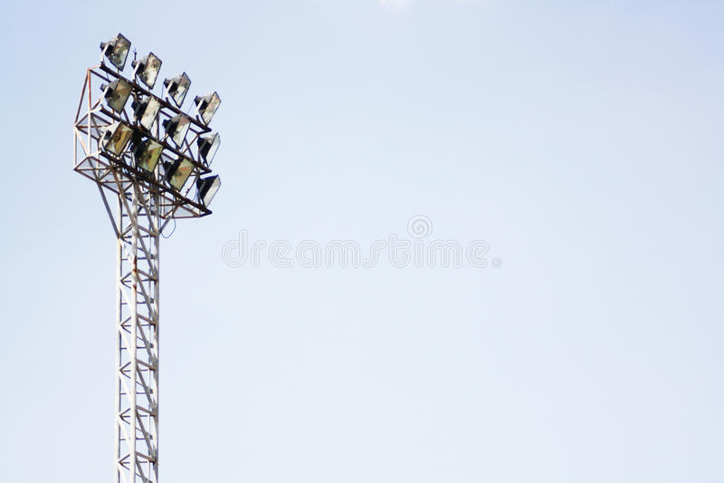 Stadium light poles stock images