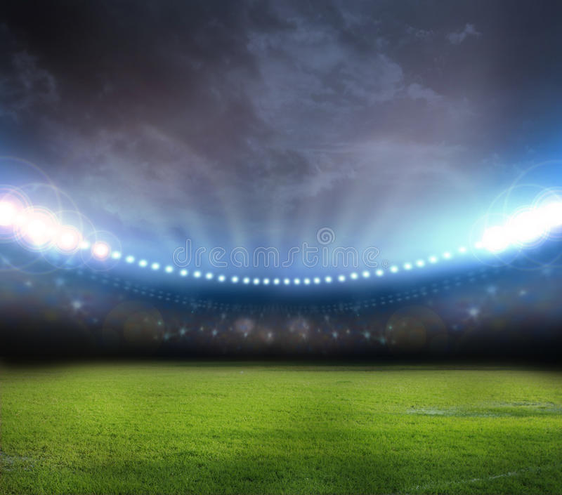 Stadium in lights 3d. Stadium in lights and flashes 3D rendering stock illustration