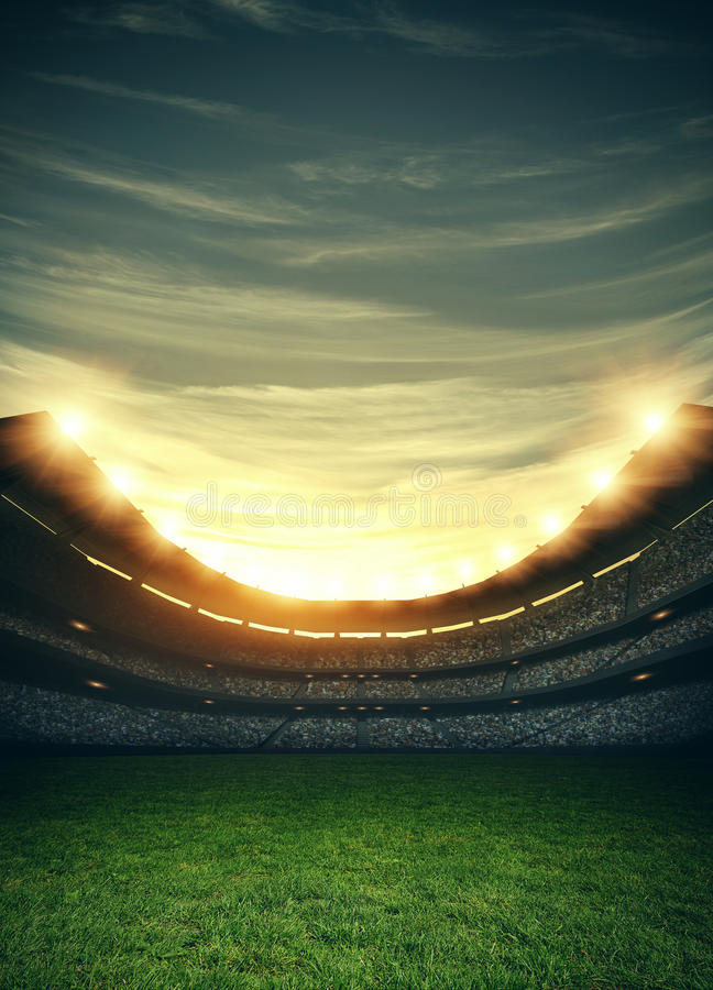 Stadium lights, 3d rendering. The imaginary stadium is modelled and rendered vector illustration