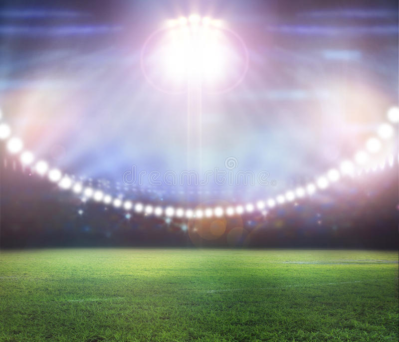 Stadium in lights and flashes. 3d royalty free stock image