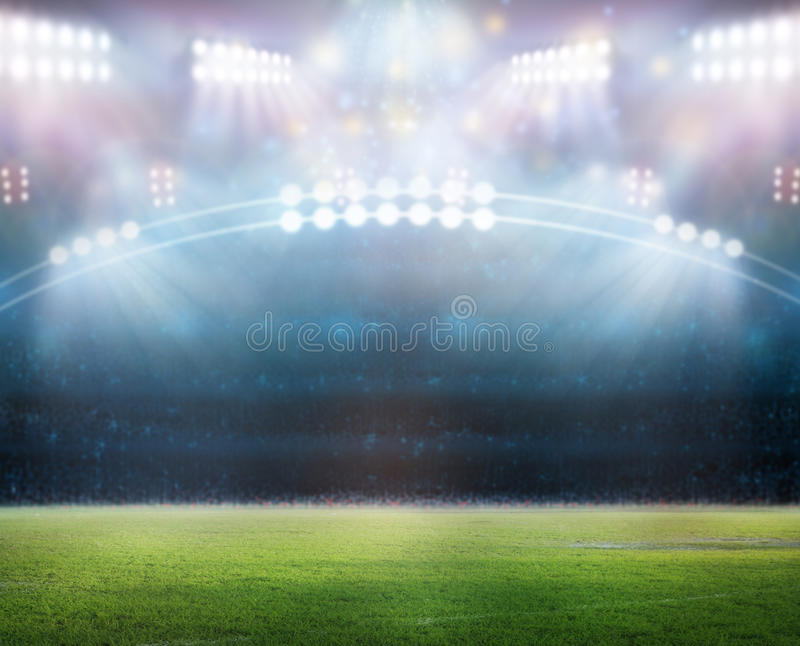 Stadium in lights. And flashes 3D rendering royalty free illustration