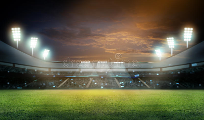 Stadium in lights and flashes 3d. Stadium in lights and flashes 3D rendering royalty free stock image