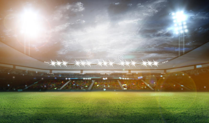 Stadium in lights and flashes 3d. vector illustration