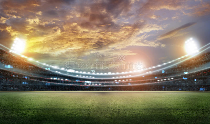Stadium. In lights and flashes 3D rendering royalty free illustration