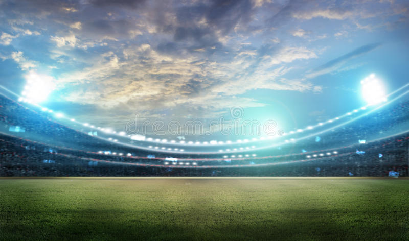 Stadium. In lights and flashes 3D rendering vector illustration