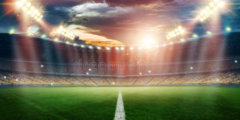 Stadium in the lights and flashes, football field. Concept sports background, football, night stadium. Mixed media, copy space.  vector illustration