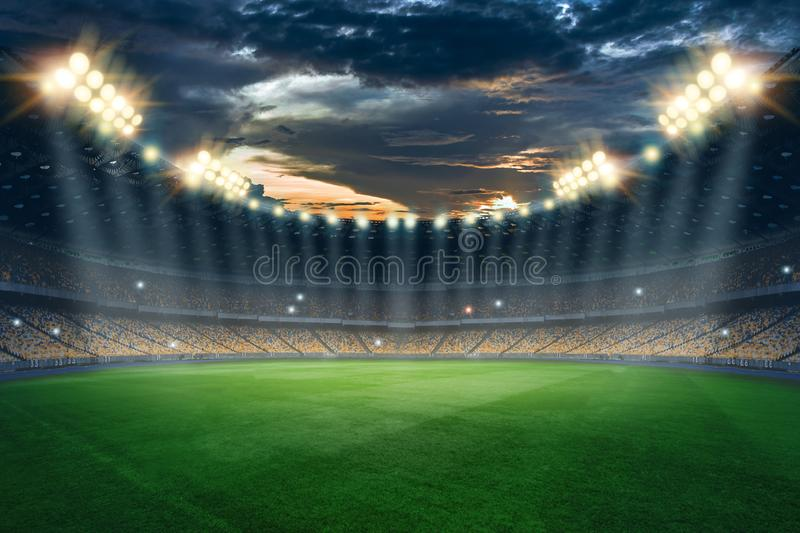 Stadium in the lights and flashes, football field. Concept sports background, football, night stadium. Mixed media, copy space.  royalty free illustration