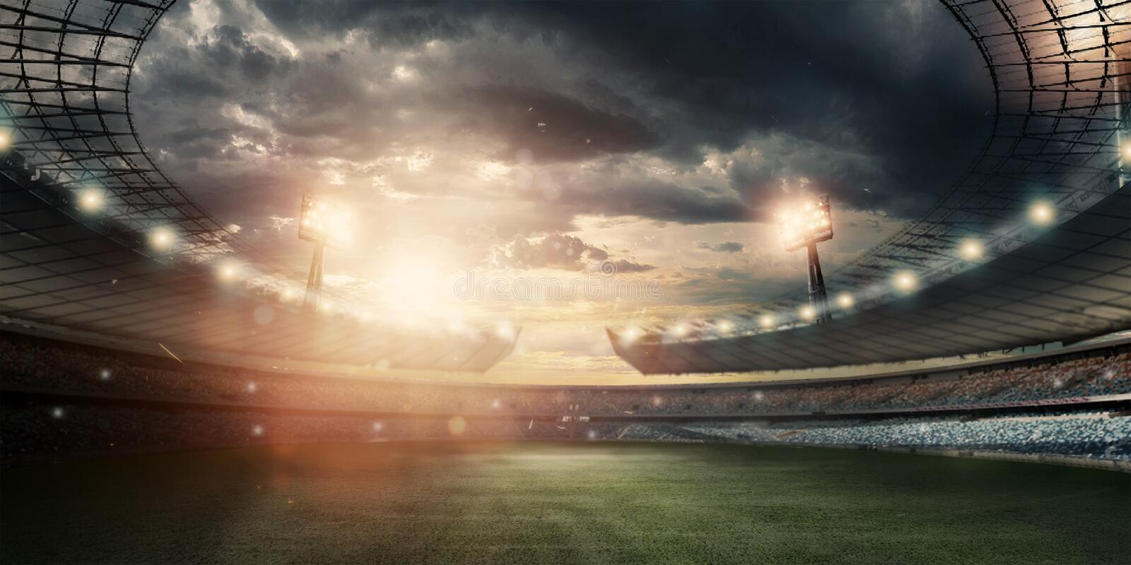 Stadium in the lights and flashes, football field. Concept sports background, football, night stadium. Mixed media, copy space.  stock illustration