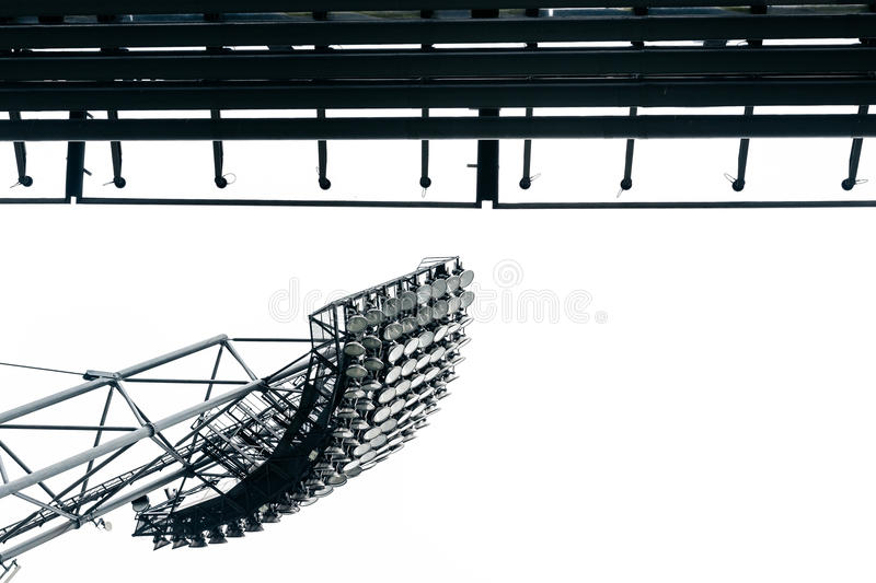 Stadium lights at olympic parc in munich stock photography